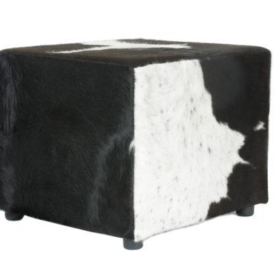 Poef koeienhuid zwart wit