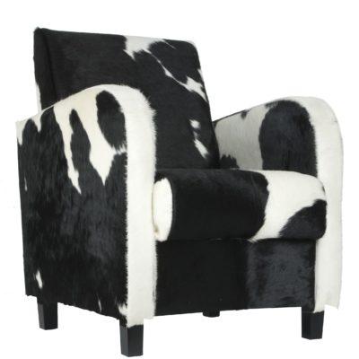 Fauteuil koeienhuid zwart wit